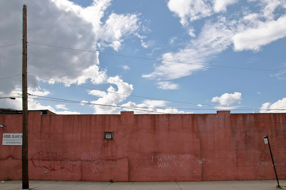 Wall with graffitis on Richard Street, Red Hook, Brooklyn