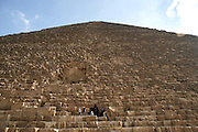 Looking up at the Great Pyramid  Giza, Egypt