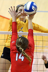 07 October 2017:  Sydney Bronner & Lexi Wallen during a college women's volleyball match between the Crusaders of Valparaiso and the Illinois State Redbirds at Redbird Arena in Normal IL (Photo by Alan Look)