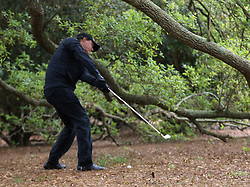 April 7, 2018 - Augusta, GA, USA - Phil Mickelson whiffs his first shot out of the woods on the 1st hole during the third round of the Masters Tournament on Saturday, April 7, 2018, at Augusta National Golf Club in Augusta, Ga. (Credit Image: © Curtis Compton/TNS via ZUMA Wire)