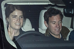 © Licensed to London News Pictures. 14/01/2020. London, UK. PRINCESS EUGENIE OF YORK and her husband JACK BROOKSBANK is seen returning Kensington Palace in London. Yesterday Queen Elizabeth II held a summit meeting with senior members of the Royal family at Sandringham, following a recent announcement that Prince Harry and Megan, The Duke and Duchess of Sussex, will be stepping back from official Royal duty and spending more time abroad. Photo credit: Ben Cawthra/LNP