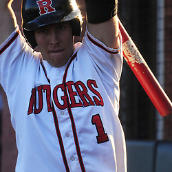 Rutgers catcher Jeff Melillo (#1) stretches before an at-bat during Rutgers 12-11 walk-off homerun victory over  Princeton in NCAA college baseball at Bainton Field in Piscataway, N.J.