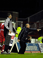 Photo: Alan Crowhurst.<br />Swindon Town v Morecambe. The FA Cup. 02/12/2006.<br />Morecombe coach Sammy Mcilroy shouts the orders.