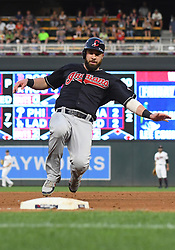 May 31, 2018 - Minneapolis, MN, U.S. - MINNEAPOLIS, MN - MAY 31: Cleveland Indians Second base Jason Kipnis (22) slides into 3rd during a MLB game between the Minnesota Twins and Cleveland Indians on May 31, 2018 at Target Field in Minneapolis, MN. The Indians defeated the Twins 9-8.(Photo by Nick Wosika/Icon Sportswire) (Credit Image: © Nick Wosika/Icon SMI via ZUMA Press)