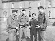1983-04-12.12th April 1983.12-04-1983.04-12-83..Photographed at McKee Barracks, Cork..At Ease..From left to right:..Lieutenant Commandant Patsy McHale..Lieutenant Eugene Doyle of Cork..Sergeant Kevin O'Donovan, Riverstick, Cork..Lieutenant Martin Murphy of Cork