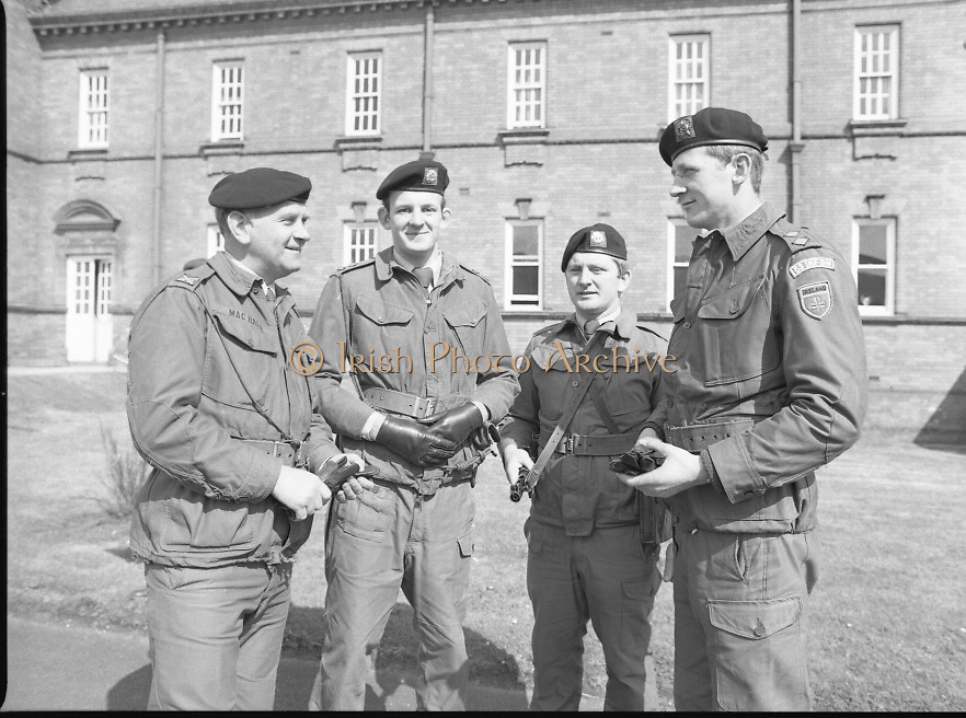 1983-04-12.12th April 1983.12-04-1983.04-12-83..Photographed at McKee Barracks, Cork..At Ease..From left to right:..Lieutenant Commandant Patsy McHale..Lieutenant Eugene Doyle of Cork..Sergeant Kevin O'Donovan, Riverstick, Cork..Lieutenant Martin Murphy of Cork