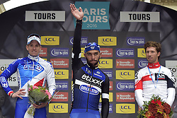 October 9, 2016 - Tours, FRANCE - TOURS, FRANCE - OCTOBER 9 : winner GAVIRIA RENDON Fernando (COL) Rider of ETIXX - QUICK STEP, second DEMARE Arnaud (FRA) Rider of FDJ and third VANGENECHTEN Jonas (BEL) Rider of IAM CYCLING pictured during the podium ceremony of the 110th edition of the Paris-Tours cycling race with start in Dreux and finish in Tours on October 09, 2016 in Tours, France, 9/10/2016 (Credit Image: © Panoramic via ZUMA Press)