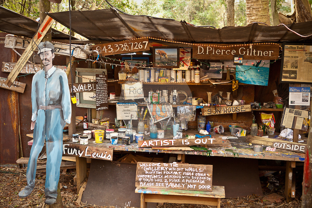 Outdoor art studio in the tiny artists village of Bluffton, South Carolina, USA.
