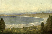 Table Bay from the Kloof Nek, Cape South Africa From the book ' The Cape peninsula: pen and colour sketches ' described by Réné Juta and painted by William Westhofen. Published by A. & C. Black, London  J.C. Juta, Cape Town in 1910