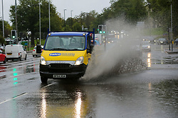 © Licensed to London News Pictures. 02/10/2020. London, UK. A Selco van drives through a flood in north London as Storm Alex arrives from Europe. The Met Office forecasts heavy rain and windy weather for the next few days in the capital, caused by Storm Alex. Photo credit: Dinendra Haria/LNP
