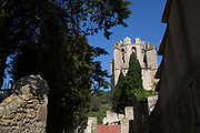 Scene in the medieval village of Lagrasse, Languedoc-Roussillon, France. It lies in the valley of the River Orbieu and is famous for The Abbey of St. Mary of Lagrasse (French: Abbaye Sainte-Marie de Lagrasse or Abbaye Sainte-Marie-d'Orbieu) a Romanesque Benedictine abbey.