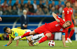 July 3, 2018 - Moscou, Rússia - MOSCOU, MO - 03.07.2018: COLOMBIA VS ENGLAND - Harry Kane of England contests ball with Radamel Falcon of Colombia during match between Colombia and England valid for the eighth finals of the 2018 World Cup finals, held at the Otkrytie Arena in Moscow, Russia. (Credit Image: © Marcelo Machado De Melo/Fotoarena via ZUMA Press)