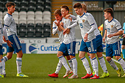 Russia's Vadim Konyukhov rubs his hands with glee following his long range goal during the U17 European Championships match between Scotland and Russia at Simple Digital Arena, Paisley, Scotland on 23 March 2019.