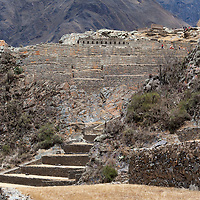 View on the temple hill with its fortification walls and the famous terraces of Ollantaytambo.