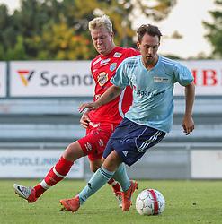 Emil Sørensen (FC Helsingør) under træningskampen mellem FC Helsingør og IS Halmia (Sverige) den 24. juli 2012 på Helsingør Stadion (Foto: Claus Birch).