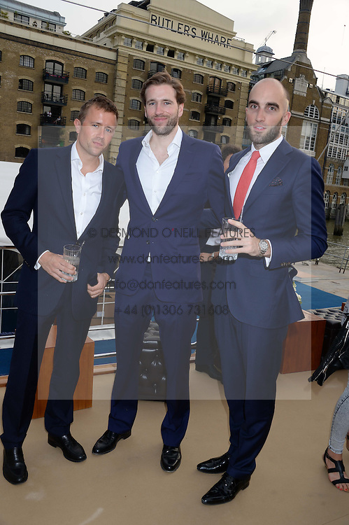 The Johnnie Walker Blue Label and David Gandy Drinks Reception aboard John Walker & Sons Voyager, St.Georges Stairs Tier, Butler's Wharf Pier, London, UK on 16th July 2013.<br /> Picture Shows:-Miles Frost, Wilfred Frost, Drummond Money-Coutts.