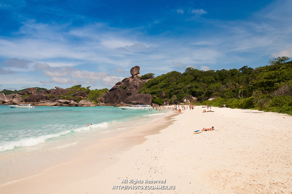 Similan Island #8 with sail rock and white sand beach