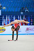 Halkina Katsiaryna during qualifying at clubs in Pesaro World Cup 11 April 2015.   Katsiaryna is a Belarusian rhythmic gymnastics athlete born  February 25, 1997 in Minks, Belarus.