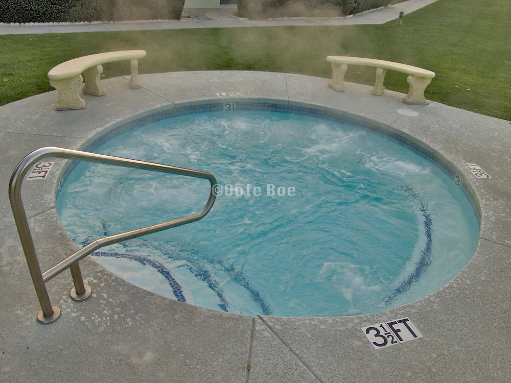 large outdoor Jacuzzi early morning
