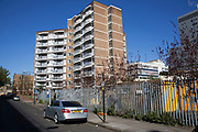 Housing estate in Whitechapel, East London, UK. Council estates like this are very common all over Tower Hamlets, which is the most densely populated borough in the UK.