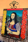 MEXICO, COLONIAL CITIES, GUANAJUATO San Miguel de Allende: a whimsical version of the Mona Lisa in a tourist shop near  the El Jardin Plaza