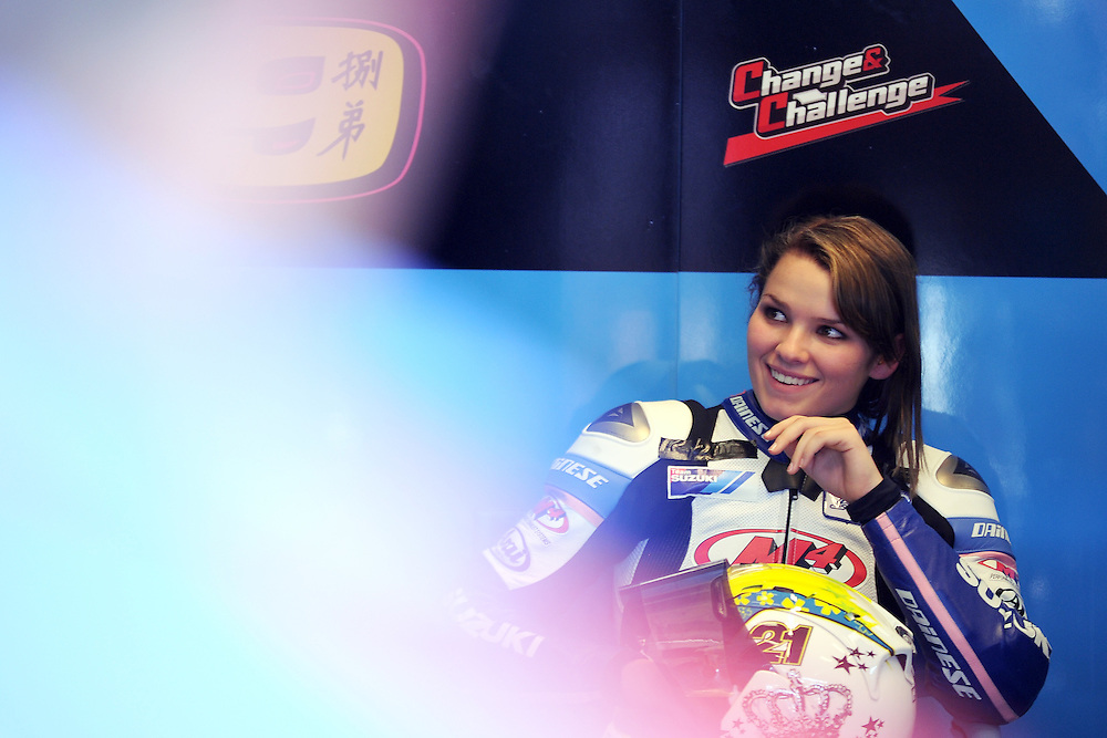 AMA SuperSport rider Elena Meyers siting the Suzuki garage while testing out a MotoGP bike at Indianapolis Motor Speedway before the 2011 Red Bull Indianapolis Grand Prix.