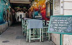 THEMENBILD - Restaurant in der Fußgängerzone, aufgenommen am 14. August 2019 in Rijeka, Kroatien // restaurant in the pedestrian zone, pictured in Rijeka, Croatia on 2019/08/14. EXPA Pictures © 2019, PhotoCredit: EXPA/Stefanie Oberhauser