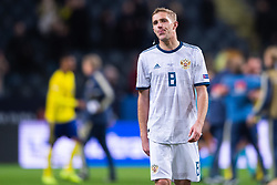 November 20, 2018 - Stockholm, SWEDEN - 181120 Iury Gazinsky of Russia looks dejected after the Nations League football match between Sweden and Russia on November 20, 2018 in Stockholm  (Credit Image: © Dennis Ylikangas/Bildbyran via ZUMA Press)