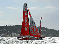 LISBON, Nov. 4, 2017  Dongfeng Race Team competes during the In-port Race prior to the Volvo Ocean Race in Lisbon, Portugal, on Nov. 3, 2017. (Credit Image: © Zhang Liyun/Xinhua via ZUMA Wire)