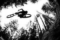 A young man jumps his mountain bike while riding on Mount Elden near Flagstaff, Arizona.