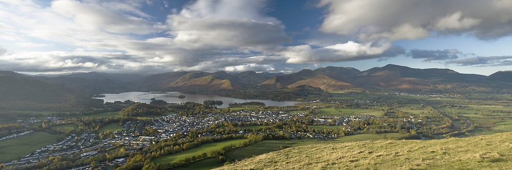 Keswick and Derwent Water from Latrigg, Lake District, Cumbria, UK