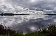 Spring rain storm clouds reflect in the calm wetland waters of Shollenberger Park, on the Petaluma River, California
