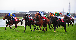 Phebes Dream and Mark Gallagher (second left) win the Reaney's Of Galway Supporting NUIG Volunteer Services Abroad Handicap during day three of the October Festival at Galway Racecourse.