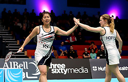 Mizuki Fuji of Bristol Jets and Jess Hopton of Bristol Jets high five - Photo mandatory by-line: Robbie Stephenson/JMP - 07/11/2016 - BADMINTON - University of Derby - Derby, England - Team Derby v Bristol Jets - AJ Bell National Badminton League