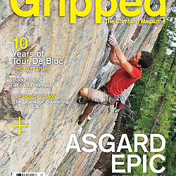 Sam Lambert climbing Scared Peaches, 5.12a trad at Back of the Lake, Lake Louise, Alberta on the cover of Gripped 06/07 2013