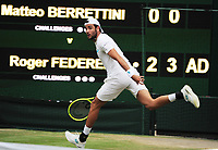 Tennis - 2019 Wimbledon Championships - Week Two, Monday (Day Seven)<br /> <br /> Men's Singles, Fourth Round: Roger Federer (SUI) v Matteo Berrettini (ITA)<br /> <br /> Matteo Berrettini on Centre court <br /> <br /> COLORSPORT/ANDREW COWIE