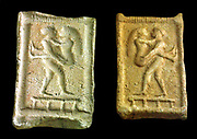 Moulds for producing embossments Pazuzu left-head Rear Lovers on a bed 2. / 1. Millennium BC Front God with water bottle (Babylon)