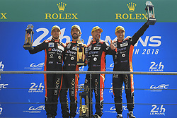 June 17, 2018 - Le Mans, France - 26 G DRIVE RACING (RUS) ORECA 07 GIBSON LMP2 ROMAN RUSINOV (RUS) ANDREA PIZZITOLA (FRA) JEAN ERIC VERGNE (FRA) WINNER LMP2 (Credit Image: © Panoramic via ZUMA Press)