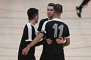 Capital players celebrate a goal in the Mens Futsal Superleague match, Central v Capital, Pettigrew Green Arena, Napier, Saturday, September 28, 2019. Copyright photo: Kerry Marshall / www.photosport.nz