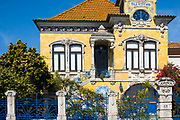 Facade of Vila Africana,  20th Century Art Nouveau style traditional architecture Property of Public Interest in Ilhavo by Aveiro, Portugal