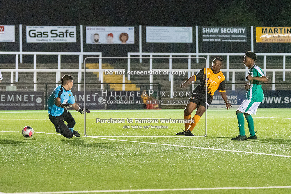 BROMLEY, UK - SEPTEMBER 04: Leslie Ariku, of Cray Wanderers FC, scores the winning goal for Cray Wanderers in the second half of extra time during the FA Youth Cup Preliminary Round match between Cray Wanderers FC and VCD Athletic at Hayes Lane on September 4, 2019 in Bromley, UK. <br /> (Photo: Jon Hilliger)