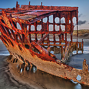 Peter Iredale Shipwreck Wide Port View - Sunset - Oregon Coast - HDR