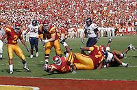 8 October 2005: #5 Reggie Bush tries unsuccessfully to reach the goal line with the football during the first half of the USC Trojans 42-21 win over the Arizona Wildcats at the Los Angeles Memorial Coliseum. NCAA Pac-10 College Football day game.