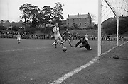 21/08/1966<br /> 08/21/1966<br /> 21 August 1966<br /> St. Patrick's Athletic v Waterford at Richmond Park, Dublin. St Pats keeper Lowry just gets his fingers to the ball to push it around the post for a Waterford corner.