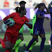 Seattle Reign FC goalkeeper Hope Solo (1) runs with the ball after making a save during a NWSL soccer match at Camping World Stadium on May 8, 2016 in Orlando, Florida. (Alex Menendez via AP)