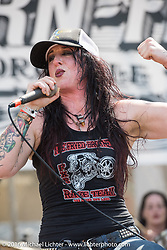 Hell's Belles all women Seattle based Metal band performing at the Born Free 8 Motorcycle Show on Sunday. Silverado, CA, USA. June 26, 2016.  Photography ©2016 Michael Lichter.