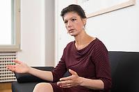 16 MAY 2016, BERLIN/GERMANY:<br /> Sahra Wagenknecht, MdB, Die Linke, Fraktionsvorsitzende DIe Linke Bundestagsfraktion, waehrend einem Interview, in ihrem Buero, Jakob-Kaiser-Haus, Deutscher Bundestag<br /> IMAGE: 20170516-02-042<br /> KEYWORDS: Büro