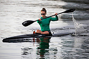 Covid-19 Level 3 - New Zealand Olympic champion sprint canoeist Lisa Carrington, trains at Lake Pupuke, Takapuna, during the 1st day of Covid-19 Level 3 Lockdown. Auckland, New Zealand.  28  April  2020       Photo: Brett Phibbs / www.photosport.nz