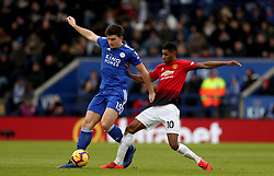 Leicester City's Harry Maguire in action with Manchester United's Marcus Rashford