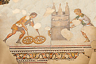 6th century Byzantine Roman mosaics of a race from the peristyle of the Great Palace from the reign of Emperor Justinian I. Istanbul, Turkey. .<br /> <br /> If you prefer to buy from our ALAMY PHOTO LIBRARY  Collection visit : https://www.alamy.com/portfolio/paul-williams-funkystock/istanbul.html<br /> <br /> Visit our TURKEY PHOTO COLLECTIONS for more photos to download or buy as wall art prints https://funkystock.photoshelter.com/gallery-collection/3f-Pictures-of-Turkey-Turkey-Photos-Images-Fotos/C0000U.hJWkZxAbg .<br /> <br /> If you prefer to buy from our ALAMY PHOTO LIBRARY  Collection visit : https://www.alamy.com/portfolio/paul-williams-funkystock/great-palace-mosaic-istanbul.html<br /> <br /> Visit our ROMAN MOSAIC PHOTO COLLECTIONS for more photos to download  as wall art prints https://funkystock.photoshelter.com/gallery-collection/Roman-Mosaics-Art-Pictures-Images/C0000LcfNel7FpLI